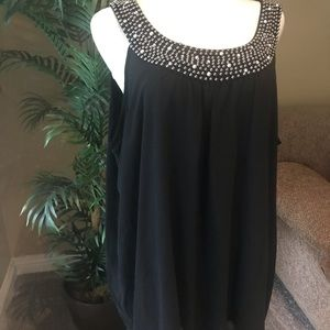 Avenue plus size black sleeveless sheer lined top